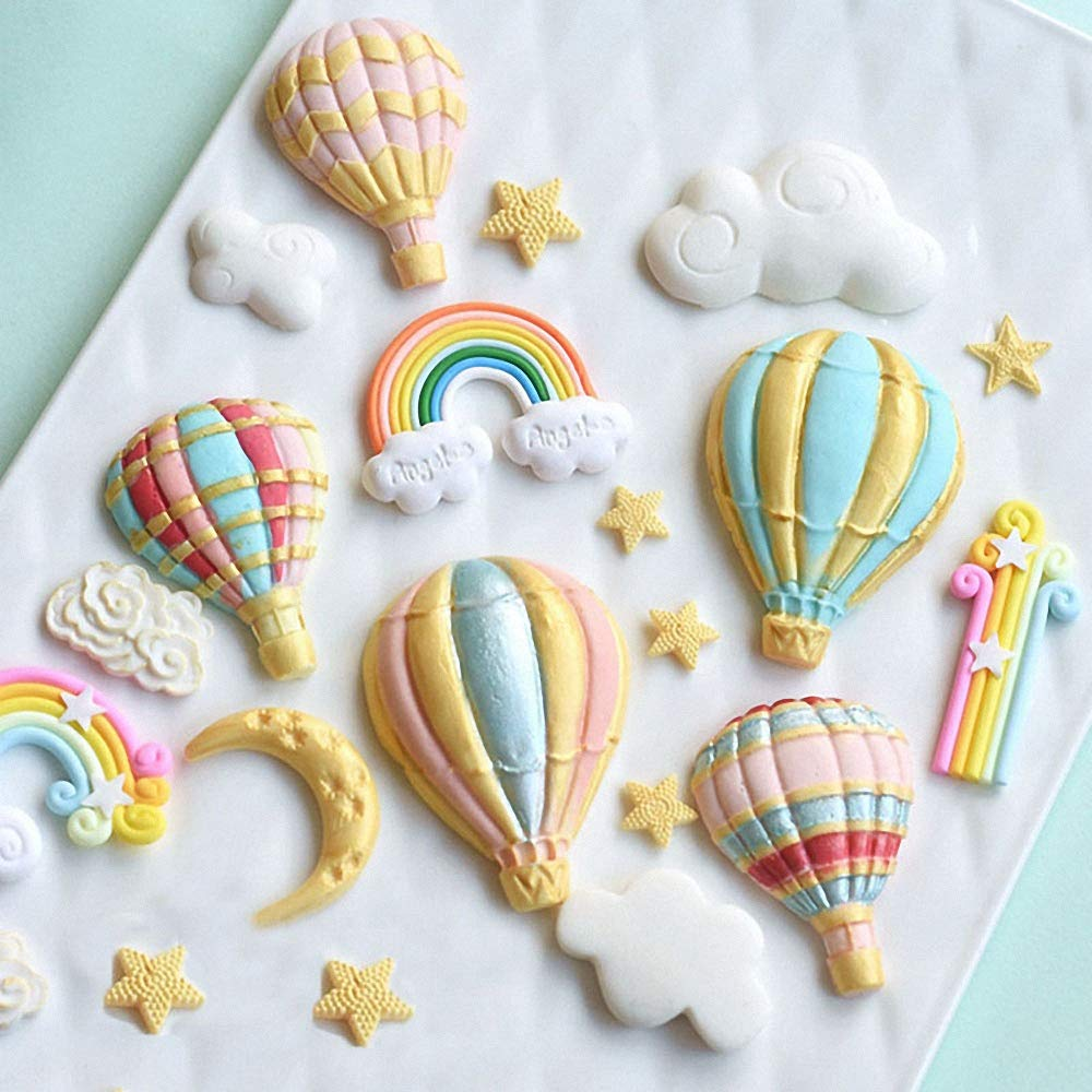 Fewo 3Pcs//Set Hot Air Balloon Fondant Molds Silicone Chocolate Candy Mold for Party Baby Shower Cake Decorating Polymer Clay Fimo Plaster Porcelain Wax Melts Mini Soap Resin Mould