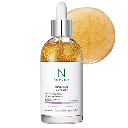 AMPLE N Peptide Shot Ampoule 3.38 fl. oz. 100ml – Visible Elasticity Care with Highly Concentrated Peptide Thread, Anti Wrinkle Powerful Moisture Circulation, Youthful Radiant Skin