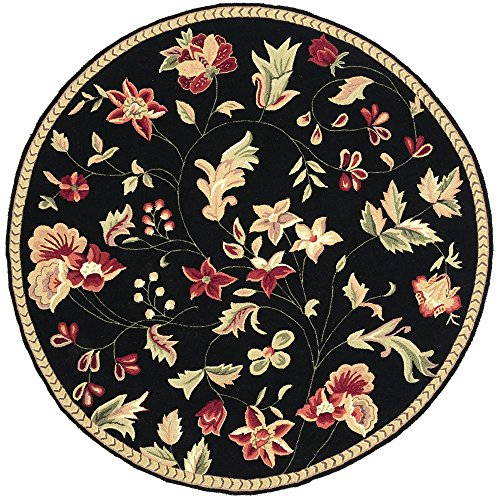 Surya Flor FLO-8907 Transitional Hand Hooked 100% Wool Caviar 6' Round Floral Area Rug