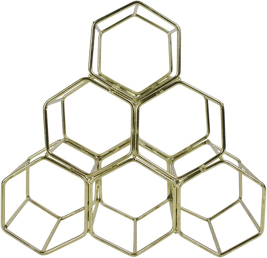 Wine Glass Holder Koyal Wholesale Modern Metal Brass Geometric Wine Rack 12.5-inches 6 Bottle Wine Glass Rack Stand Countertop Wine Rack Table Top Hexagon Iron Wine Stand for Kitchen and Bar
