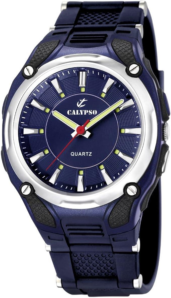 Calypso 5560/3 - Reloj de Caballero de Cuarzo, Correa de Goma Color Azul Claro (con luz)