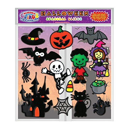 Halloween Gel Clings for Kids & Toddlers - Holiday Window Cling Decorations for Boys & Girls (14 Pieces)- Fun Removable and Reusable Cute Thick Vinyl Gels Stick to Glass, Walls, Doors and More