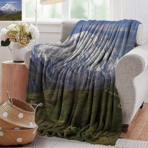 Blankets Fleece Blanket Throw,Alaska,McKinley Mountain in Denali National Park in Alaska Scenic Landscape,Fern Green White Sky Blue,300GSM,Super Soft and Warm,Durable Throw Blanket 60