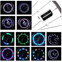 DAWAY LED Bike Spoke Lights - A12 Waterproof Cool Bicycle Wheel Light, Safety Tire Lights for Kids Adults, Very Bright, Auto & Manual Dual Switch, 30 Pattern, Include Battery, 6 Month Warranty