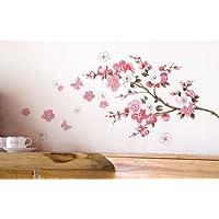 """Wall Sticker, DDLBiz® Adesivi Murales, Carta da Pareti """"Fiore Rosa Farfalla"""" Decorazione Murali da Parete"""