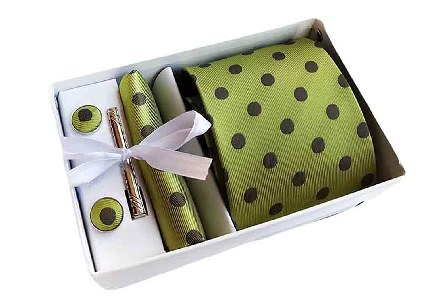 MENDENG Men's Green Brown Polka Dot Necktie Tie Clip Pocket Square Cufflinks Set ENG1625