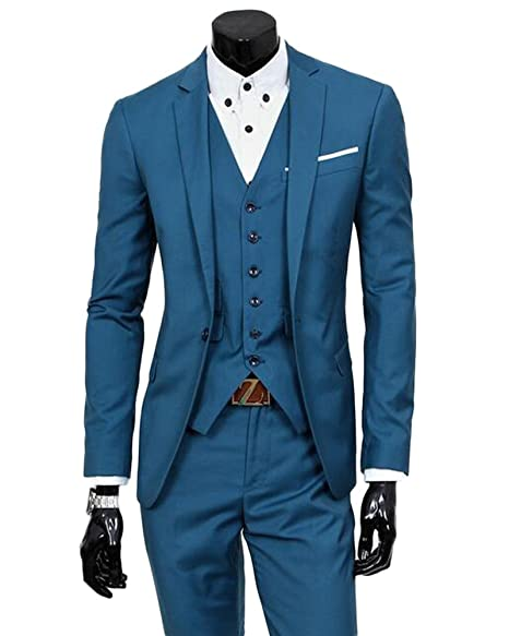 Amazon.com: AK belleza para hombre azul 3 piezas de trajes ...