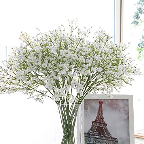 S&M TREADE Baby Breath Gypsophila Silk Wedding Flowers Bouquet Centerpieces Fillers Best Decoration fake floral plants (White)
