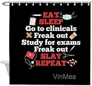 VinMea Shower Curtain,Surgical Nurse Clinical Study Exam Freak Out Slay,Home Bathtub Polyester Fabric Shower Curtain for Bathroom Decor,Waterproof Washable,72x72''