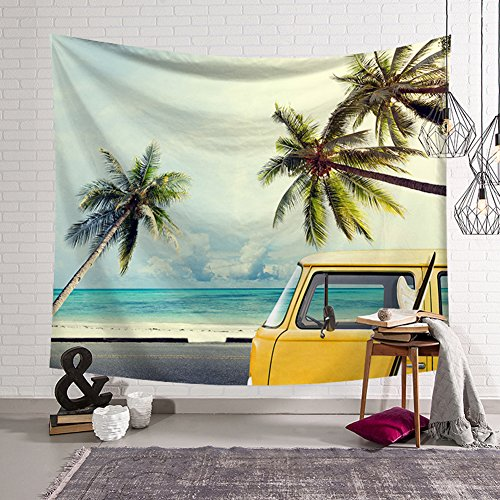 QCWN Beach Tapestry Retro Summer Vacation Surf Theme Wall Hanging Ocean Beach Palm Tree Coconut tree Bus Minivan Tapestry Home Decor Art Sets (1, 59Wx51L)