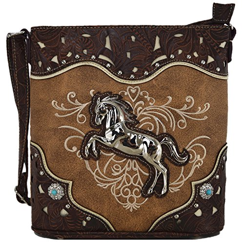 Western Cowgirl Style Horse Cross Body Handbags Concealed Carry Purses Country Women Single Shoulder Bag (Tan) -
