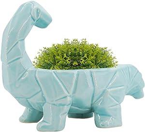GeLive Dinosaur Ceramic Succulent Plant Pot with Draining Hole, Fun Cartoon Animal Planter, Flower Container, Windowsill Box, Home Accent Decor, Decorative Organizer (Blue)