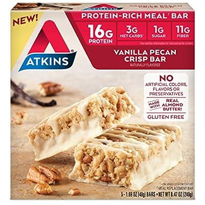 Atkins Protein-Rich Gluten Free Meal Bar, Vanilla Pecan Crisp, 5 Count