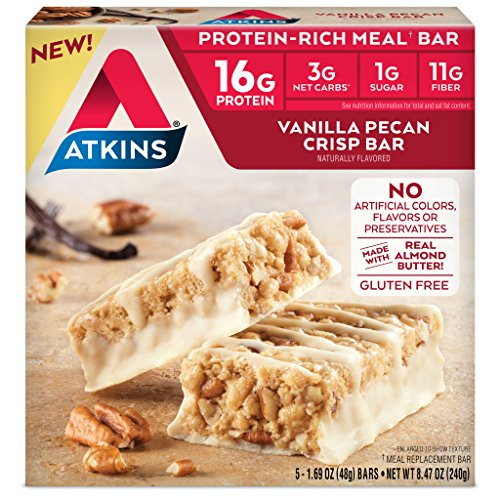 Atkins Protein-Rich Meal Bar, Vanilla Pecan Crisp, Keto Friendly, 5 Count ()