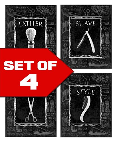 Wallables Wall Decor (Men's Black-on-Black Vintage Barber Shop Theme! Four Stylish 8x10 Wall Decor Prints in a Set. Great for Bathroom, Bachelor Pad & Barber Shop Decoration!)