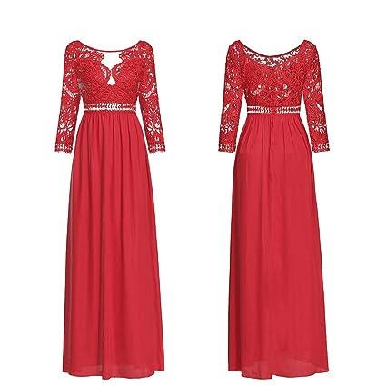 Cvbndfe Cómodo Vestidos de Fiesta Suaves Hermosos Hermosos del Color sólido del Vintage de Las Mujeres