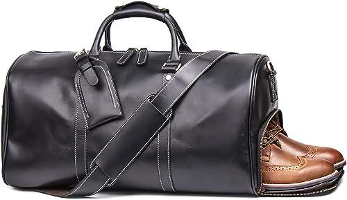 Leathfocus Leather Travel Luggage Bag, Mens Duffle Retro Carry on Handbag Black