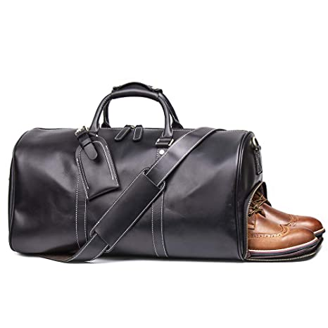 LeatherFocus Leather Travel Luggage Bag, Mens Duffle Retro Carry on Handbag (Black)
