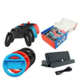 Coerni 10 in 1 Nintendo Switch Accessory Kits Sets, Joy-Con Steering Wheel+Grips Handle+Charging Dock Stand+Type C Cable for Nintendo Switch