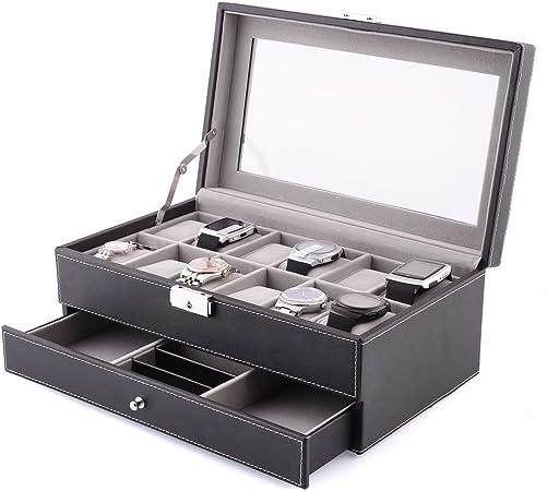 MVPOWER Caja para Relojes Estuche para Guardar Relojes Expositor de Relojes Caja de Almacenamiento de Relojes Organizador para Relojes (Negro, 6 x 2): Amazon.es: Hogar