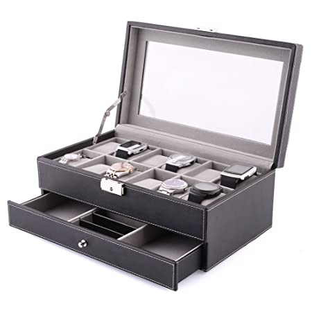 Amzdeal Watch Jewelry Box 2 Layers 12 Grids Leather Watch Storage