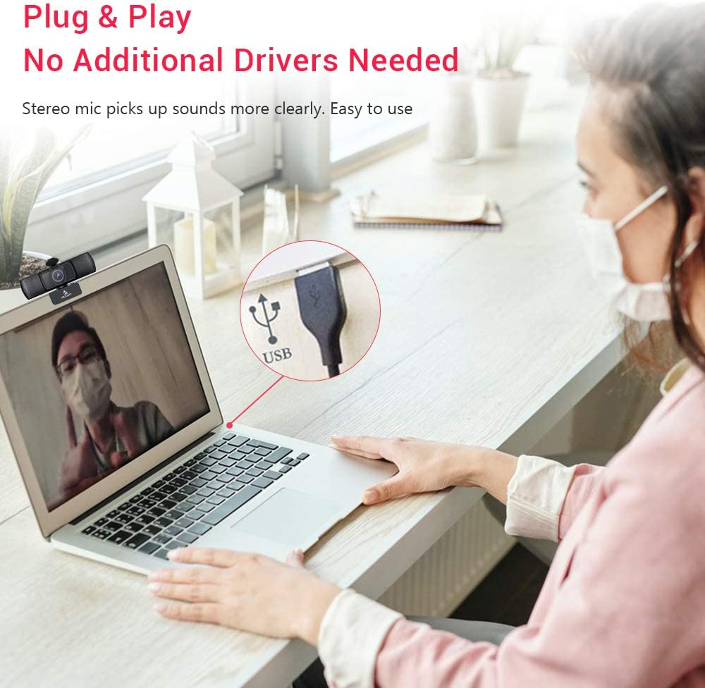 2020 1080P Streaming Business Webcam with Microphone /& Privacy Cover AutoFocus PC Mac Laptop Desktop for Zoom Meeting YouTube Skype FaceTime Hangouts NexiGo HD USB Web Camera