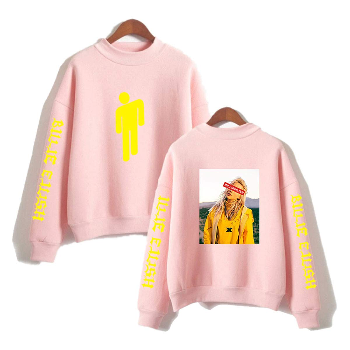 Formesy Donna Billie Eilish Fans Felpe Ragazze Casual Cool Hip Pop Maglia Carina High Collar Pullover Loose Fashion Oversized Fitting Street Top
