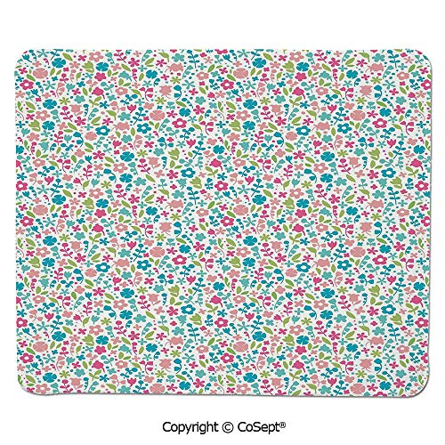 Gaming Mouse Pad,Colorful Doodle Floral Pattern Polka Dots