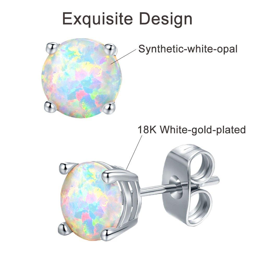 VOLUKA 18K White Gold Plated Opal Stud Earrings for Womens Sensitive Ears 3 Pairs 3/5/7mm