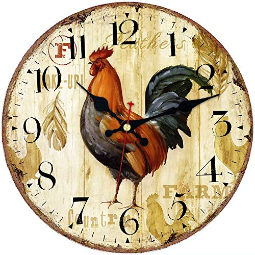 ShuaXin Animal Design Office Decorative Wall Clock,14 Inch Wooden Antique Rooster Super Large Arabic Numerals Quiet Wall Clock for Bedroom,Dining Room (Antique Rooster)