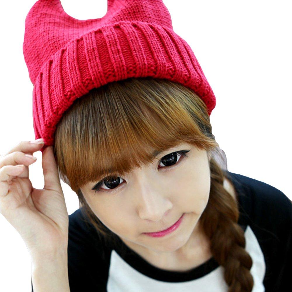 LOCOMO Women Girl Cute Devil Horn Cat Ear Slouchy Knit Beanie Hat Cap FAF033