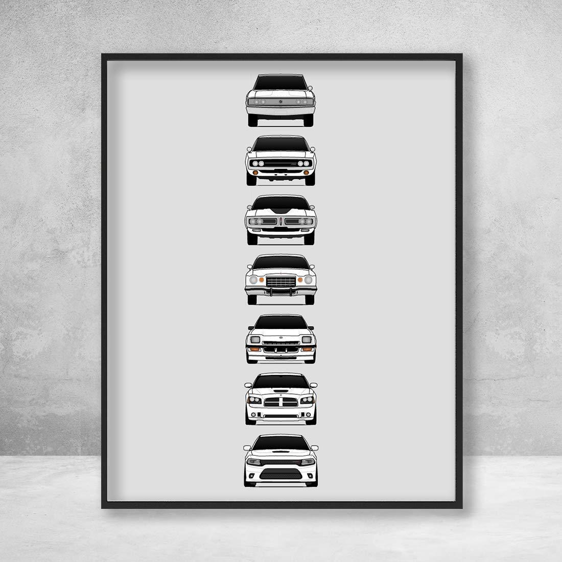 Dodge American Muscle Car BOX CANVAS Art Print Black /& White All Sizes