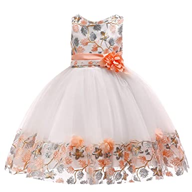 0b4085902304a Saingace 1-6 Years Kids Baby Girl Flowers Bow Princess Dress Bridesmaid  Pageant Birthday Gown Party Wedding Frock