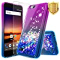 NageBee Glitter Quicksand Liquid Floating Sparkle Bling Case w/ [Tempered Glass Screen Protector] For ZTE ZFive G/ZFive C (Z557BL,Z558VL), ZTE Tempo GO Case (N9137), ZTE AVID 4G (557) -Purple/Blue from NageBee