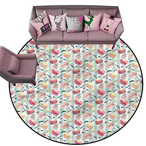 "Kitchen Doormat Retro,Hand Drawn Gourmet Deserts Diameter 48"" Round Bedroom Rugs"