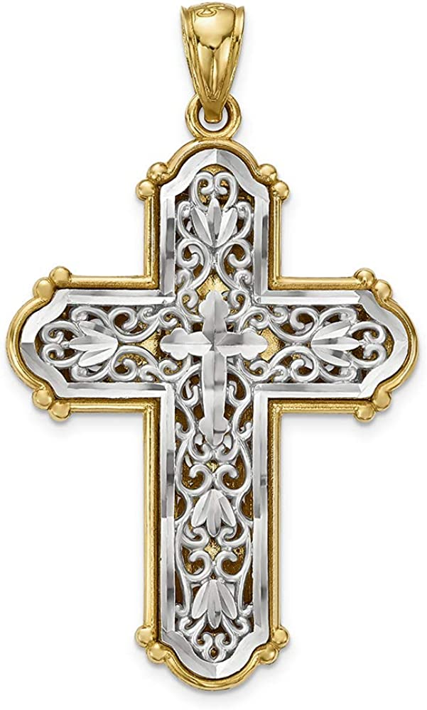 14k Two-tone Gold Religious Charm Pendant Diamond Cut Cross With White Fleur-de