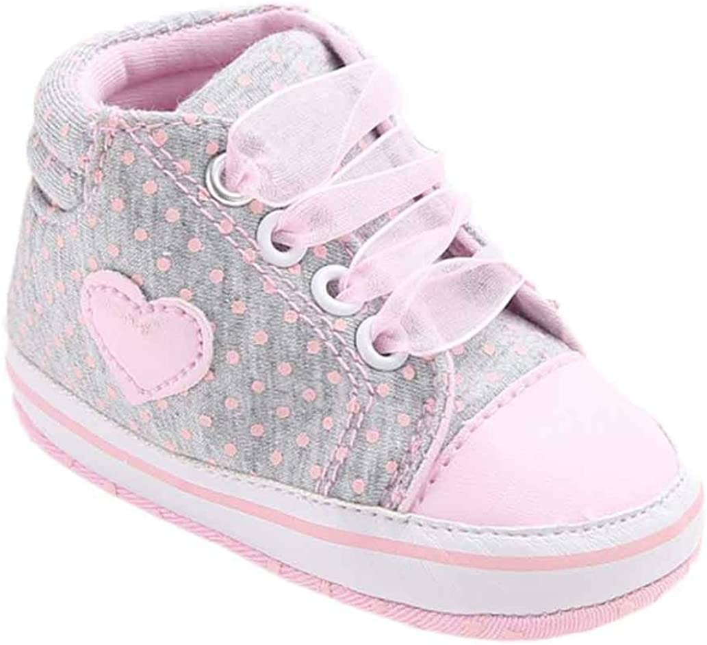 Fossen Recién Nacido Zapatos Primeros Pasos Bebe Niña Forma de corazón Antideslizante Suela Blanda Zapatos
