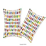 vipsung Premium Cotton Zippered Pillow Cases 2 Pack Animation Cute Little Graphic Baby Mosters Great for Kids Nursery Room Colored Cartoons Art Multicolor For home decoration