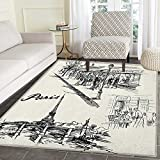 Eiffel Tower Print Area rug Paris Sketch Style Cafe Restaurant Landmark Canal Boat Lantern Retro Print Indoor/Outdoor Area Rug 4'x5' Black White