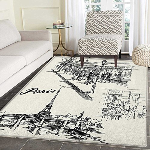 Eiffel Tower Print Area rug Paris Sketch Style Cafe Restaurant Landmark Canal Boat Lantern Retro Print Indoor/Outdoor Area Rug 4'x5' Black White by smallbeefly