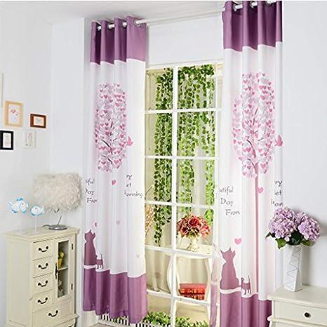 GWELL Süß Baum Druck Vorhang Schal mit Ösen TOP QUALITÄT Gardine für  Kinderzimmer Schlafzimmer grün lila 1er-Pack