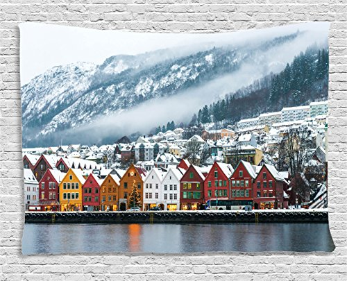 (Ambesonne European Cityscape Decor Collection, Winter View of Bruges Norway Northern Mountain Landscape European Print Urban Deco, Bedroom Living Room Dorm Wall Hanging Tapestry, 60 X 40 Inches, Multi)