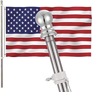 Travan 6FT Flag Pole Kit for House Garden Yard Stainless Steel Wall Mounted Spinning Flag Pole with Rotating Rings for Residential and Commercial (Flag Pole+Bracket+Flag)