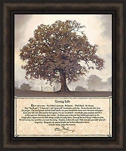 Home Cabin Décor Living Life by Bonnie Mohr 20x24 Life is A Journey Inspirational Quote Tree Framed Art Print ()