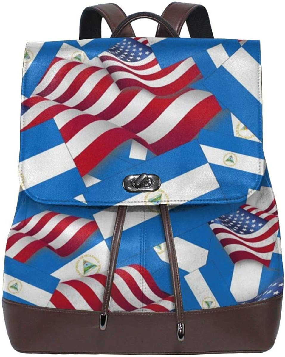 Flyup Nicaragua Flag with America Flag Women Leather Backpack for Travel Shopping Casual Laptop Bookbag Mochila de cuero para mujer