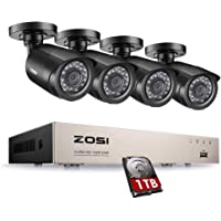ZOSI 8-Channel HD-TVI 720P Video Security Camera System,DVR Recorder with 1TB Hard Drive and (4) 1.0MP 1280TVL Indoor/Outdoor Bullet Camera,IP66 Weatherproof Housing and IR Night Vision