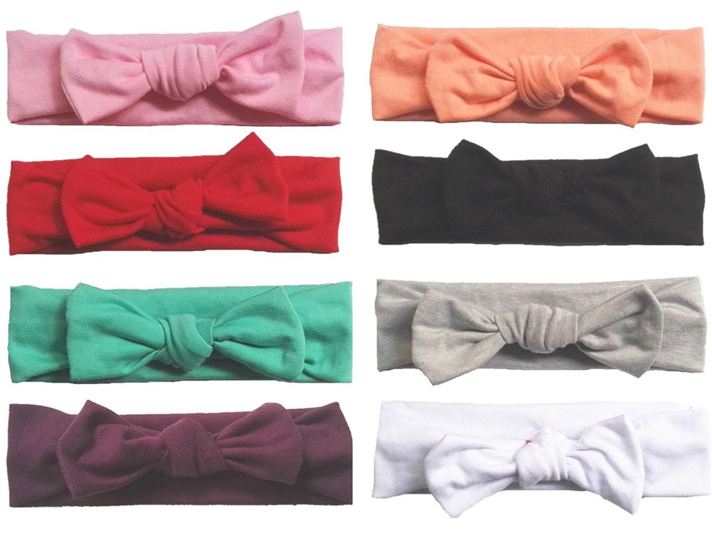 Toptim Baby Headbands Turban Knotted, Girl's Hairbands for Newborn, Toddler and Children's, Assorted Colors -8 pieces by Toptim (Image #2)