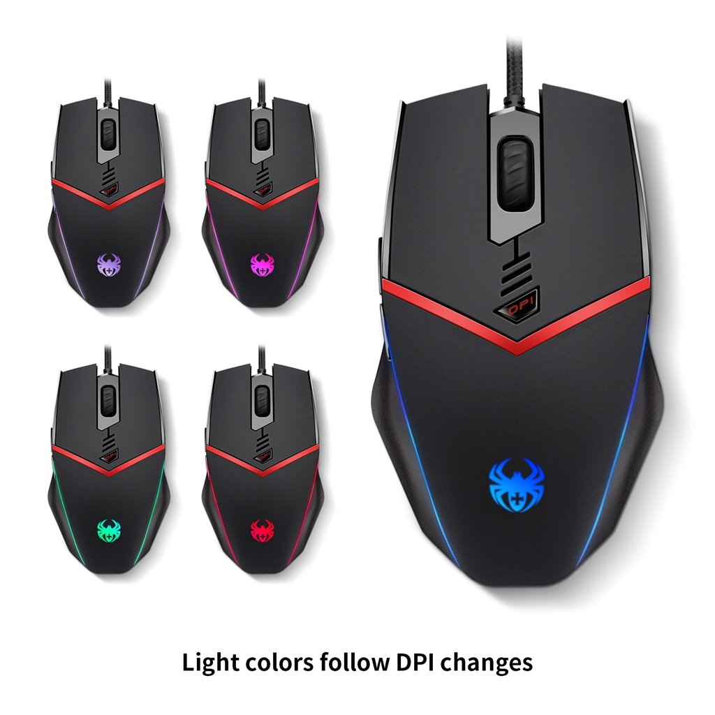 ZELOTES C13 Programmierbare Gaming Maus 3200 DPI USB Wired LED Computer Mouse with 6 Tasten, 5 Einstellbare DPI, Gewicht Tuning Set