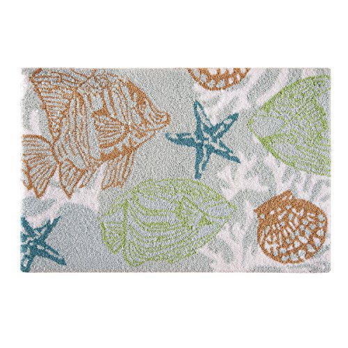 C&F Home Hooked Reef Point Coastal Parfait Rug, (Shells Hooked Rug)