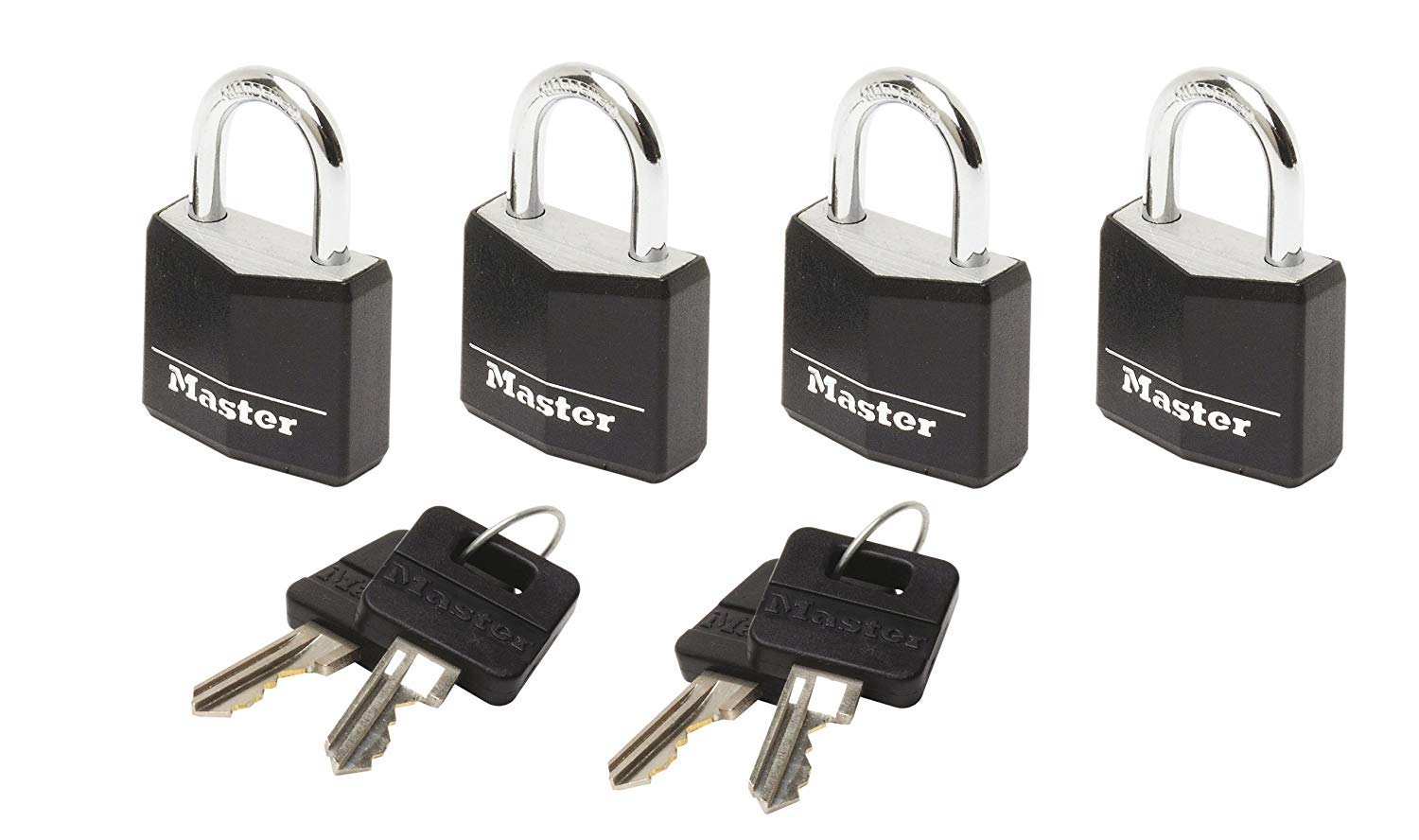 Master lock Luggage Lock 4 x Vinyl Covered Aluminium Padlocks Keyed Alike Black 9120EURQBLKNOP